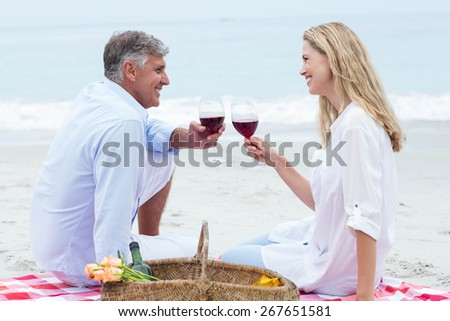 Happy couple toasting with red wine during a picnic at the beach - stock photo