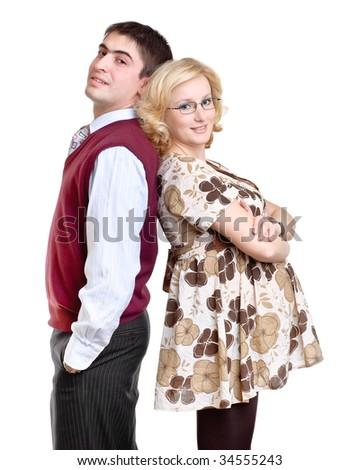 happy couple, wife is pregnant - stock photo