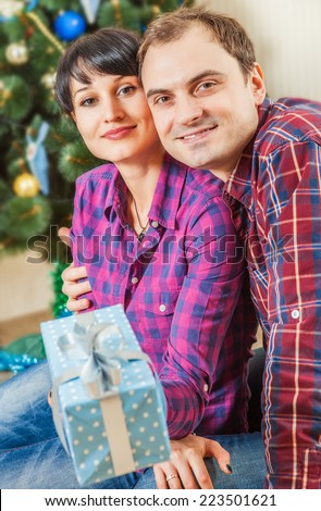 Happy couple with gift boxes under the christmas tree - stock photo