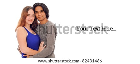 Happy Couple with Space for Custom Text - stock photo