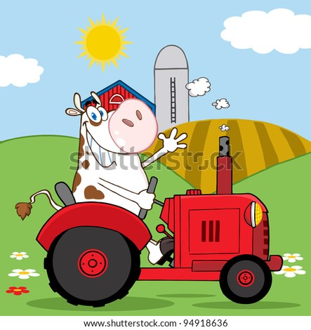 Happy Cow Farmer In Red Tractor Waving A Greeting On His Farm - stock photo