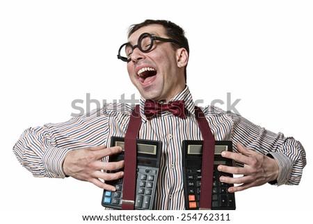 Happy crazy accountant - stock photo
