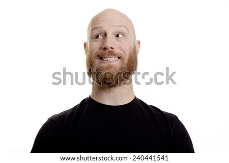 happy crazy bald, red beard man - stock photo