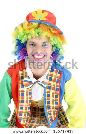 happy crazy clown at a party - stock photo
