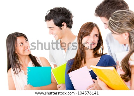 Happy croup of students - isolated over a white background