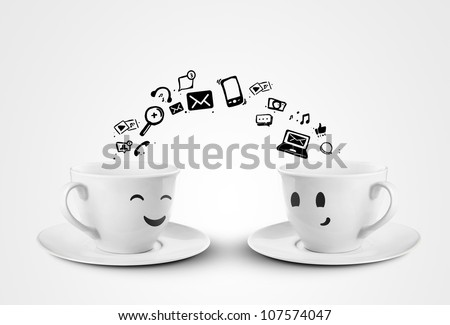 happy cups social media concept. isolated
