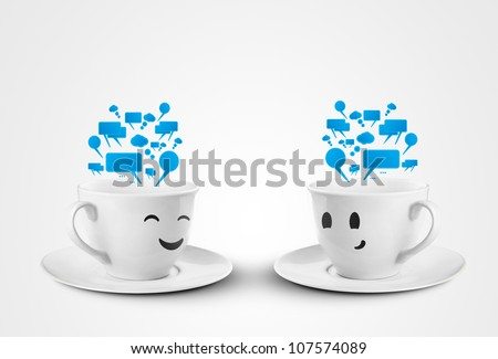 happy cups with speech bubbles - stock photo