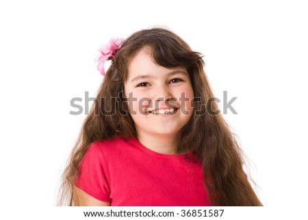 Happy curious little girl with kind smile isolated on white - stock photo