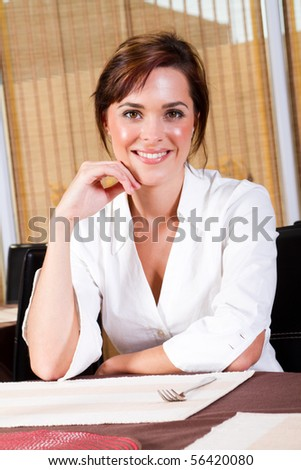 happy customer in a cafe or restaurant - stock photo