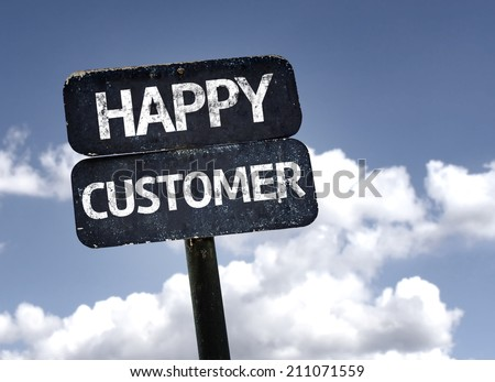 Happy Customer sign with clouds and sky background  - stock photo