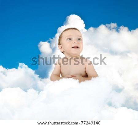 Happy cute adorable baby sitting on clouds, concept, copy space - stock photo