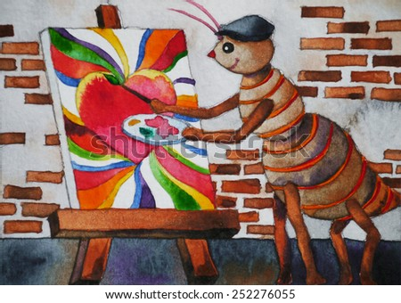 happy cute artist ant works in his studio, A alphabet ANT cartoon character, watercolor painting