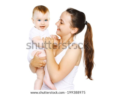 Happy cute baby and mom - stock photo