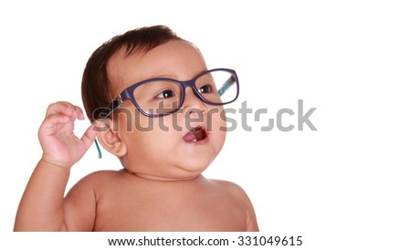 Happy cute baby wearing nerd glasses, close up face, isolated on white background - stock photo