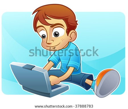 Happy cute boy operating a notebook - stock photo