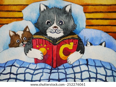 happy cute cat and her children are reading the book, C alphabet CAT cartoon character, watercolor painting - stock photo