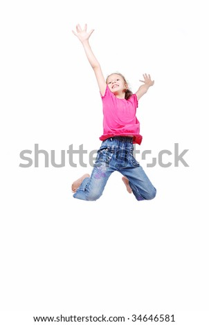 Happy cute girl in white clothes is jumping isolated - stock photo