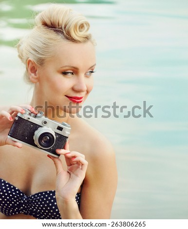 happy cute hot body young woman on the beach with colorful details, relax concept, travel   - stock photo
