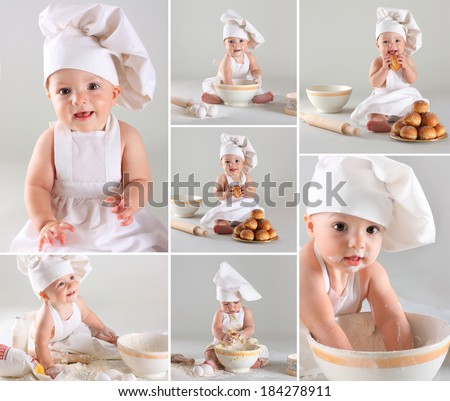 Happy cute little baby in a cook cap cooking buns. Collage - stock photo