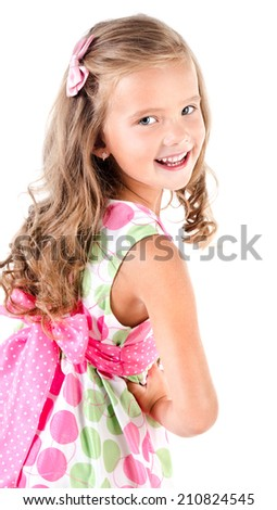Happy cute little girl in princess dress isolated on white