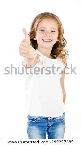 Happy cute little girl with finger up isolated on a white - stock photo