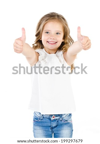 Happy cute little girl with two finger up isolated on a white - stock photo