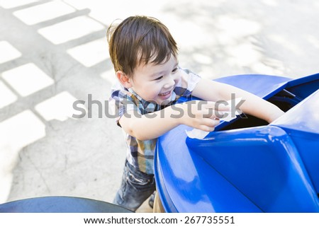 Happy Cute Mixed Race Boy Placing Paper Into The Recycle Bin. - stock ...People Picking Up Trash Drawing