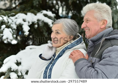 Happy cute senior couple at winter outdoors