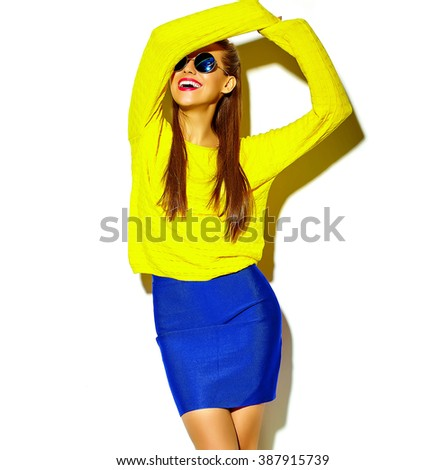 happy cute smiling dancing brunette woman girl in casual colorful hipster yellow summer clothes with red lips isolated on white
