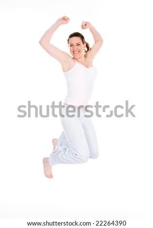happy cute woman jumping on white background