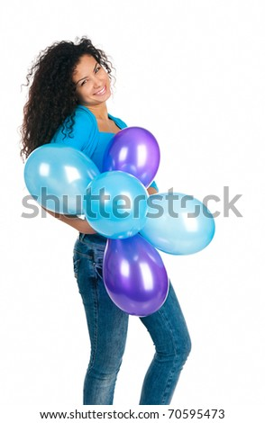 happy cute women with the balloons - stock photo