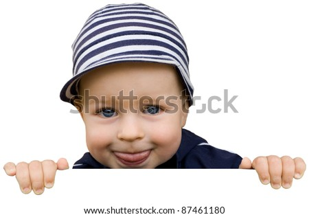 Happy cute young boy holding the sign isolated on white background