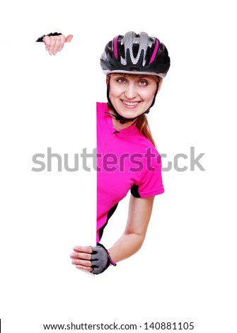 happy cyclist girl holding the vertical blank board on white background - stock photo