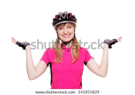Happy cyclist making a presenting gesture - stock photo