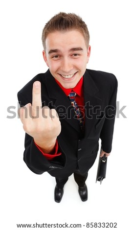 Happy, cynical businessman showing middle-finger. High angle view - stock photo