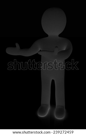 Happy 3d business man showing copy space, isolated on black - stock photo