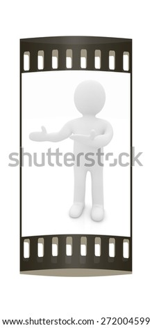 Happy 3d business man showing copy space, isolated on white. The film strip - stock photo
