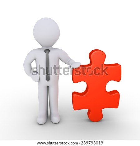 Happy 3d businessman is standing with a puzzle piece