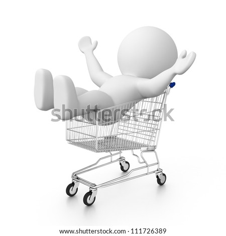 happy 3d human in shopping cart - stock photo