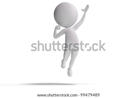 Happy 3d human wins and jumps in the air on white background