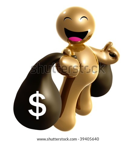 Happy 3d icon holding a big money bag