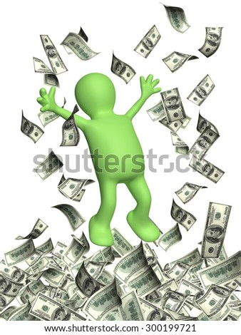 Happy 3d man leaping and a money rain with dollar banknotes. Isolated on white background - stock photo