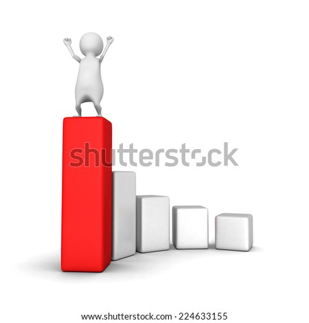 happy 3d person on top of business chart graph. success concept 3d render illustration