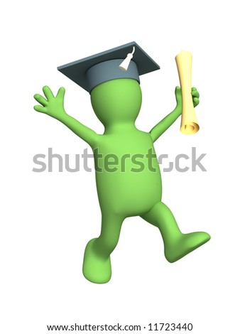 Happy 3d puppet with cap, the received diploma. Objects over white