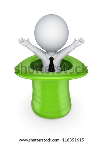 Happy 3d small person in a cylinder.Isolated on white background. - stock photo