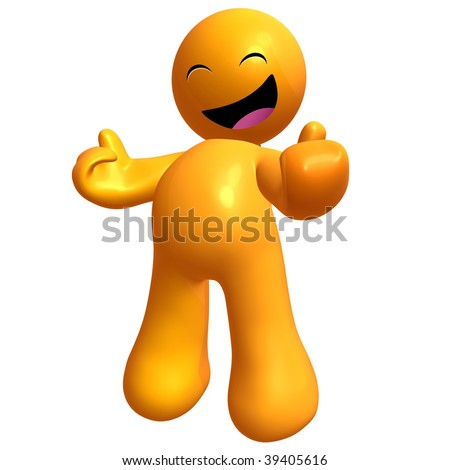 Happy 3d yellow icon on cheerful pose