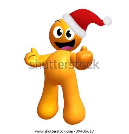 Happy 3d yellow icon with Christmas Santa Claus hat - stock photo