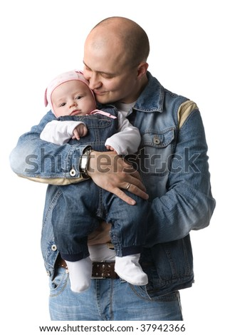 Happy daddy with baby, isolated on white