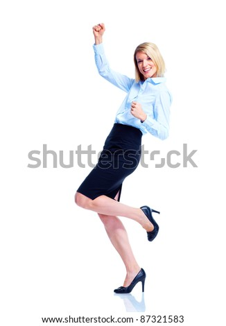 Happy dancing business woman. Isolated over white background - stock photo