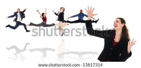 happy dancing business woman on a white background